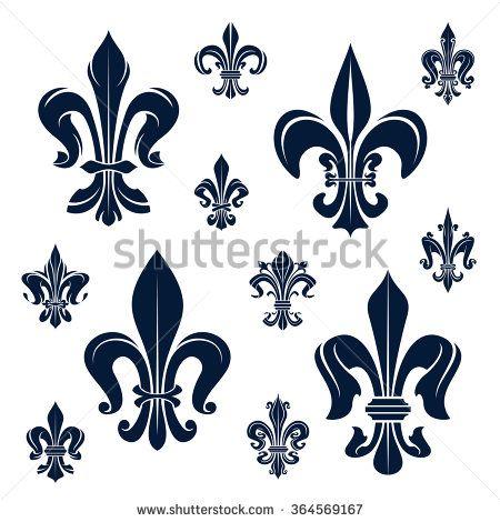 French Royal Fleur De Lis Dark Blue Heraldic Symbols With