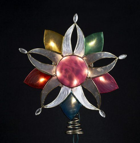 10 Lighted Capiz Shell MultiColor Flower Christmas Tree Topper Clear