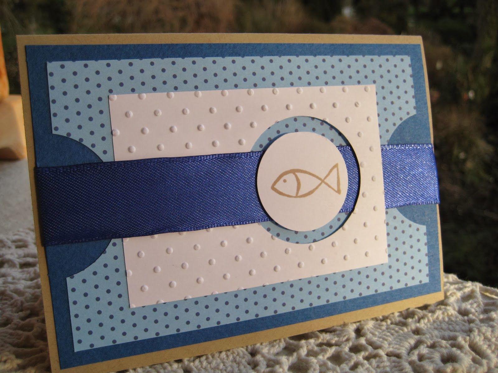 karoskreativkram.blogspot.de Einladungskarte mit Fisch Konfirmation / Kommunion / Firmung Verabschiedung BU