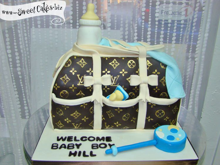 ba45bfa52cb0 Louis Vuitton Diaper Bag Cake. Find this Pin and more on Baby shower decor  ...