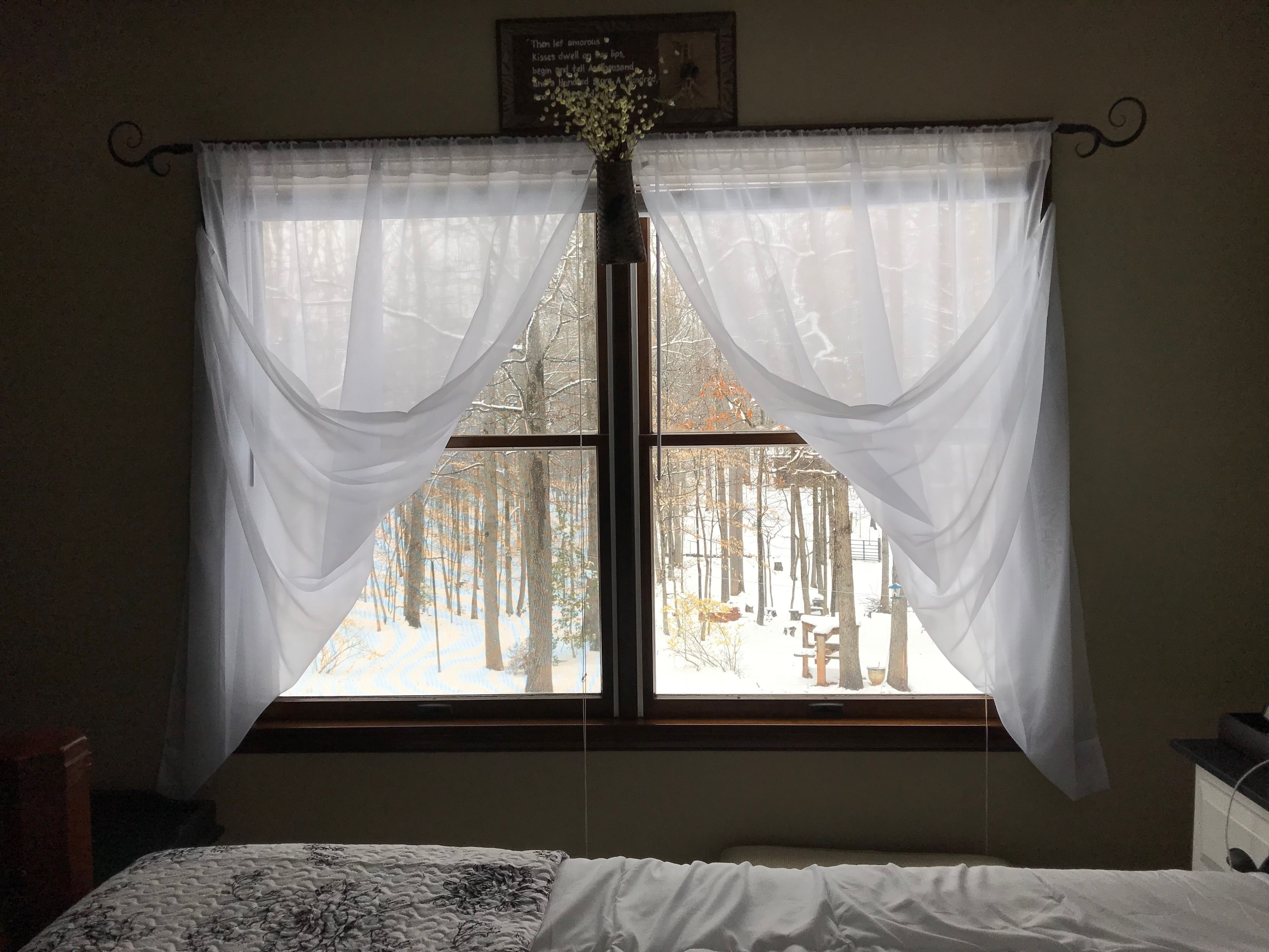 Window treatment ideas for 3 windows in a row  white sheets white paper flowers double window farmhouse bedroom