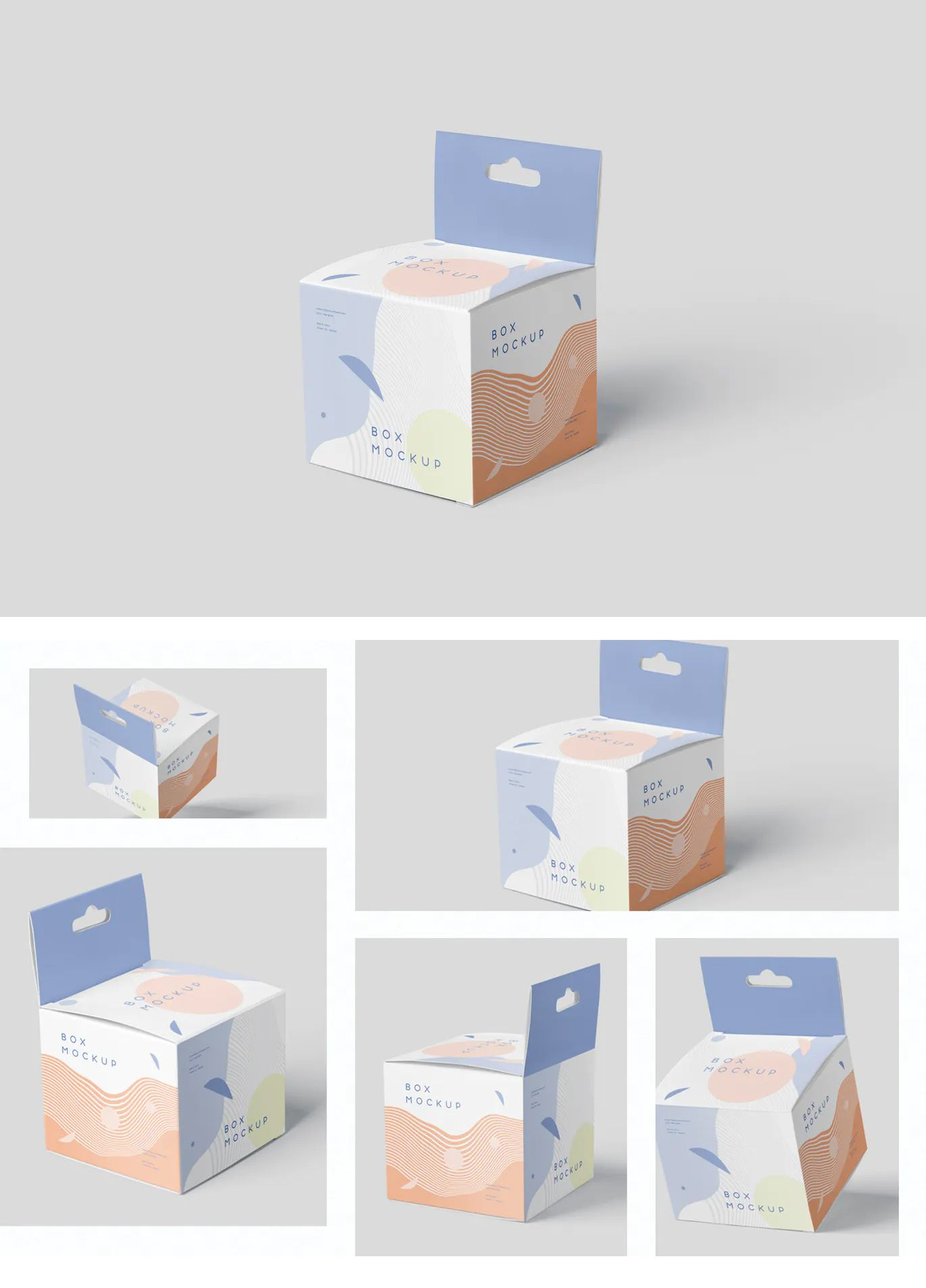 Download Box Mockup Set Mini Square With Hanger Packaging Template Design Box Design Templates Graphic Design Packaging