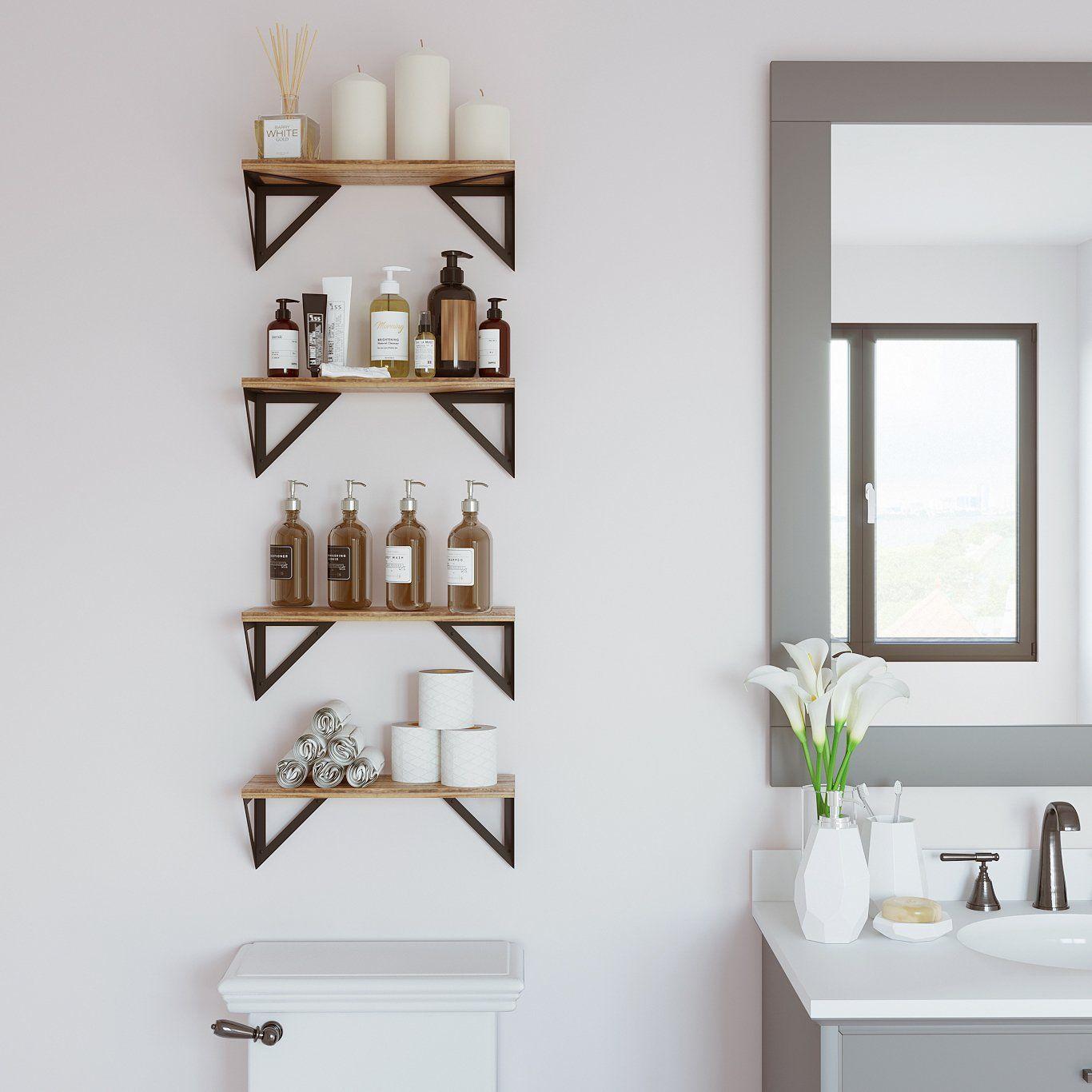 "Photo of MINORI Floating Shelves and Wall Bookshelf – 17"" Length – Set of 3, or 4 – Natural Burned – Set of 4"