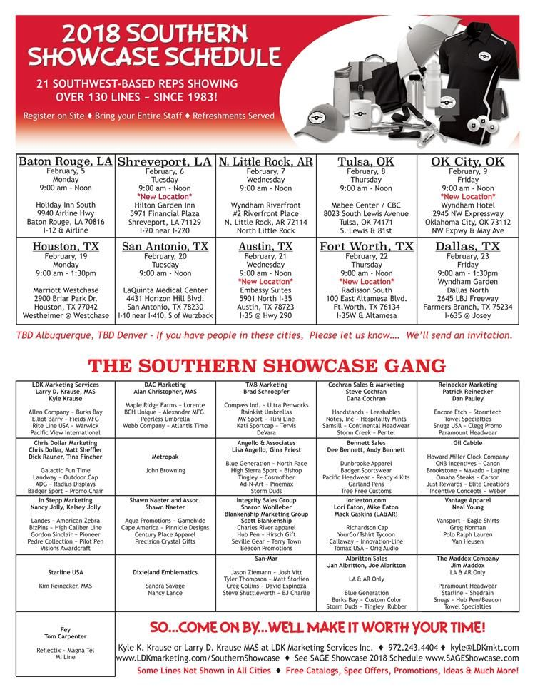 trade shows from southern showcase in 2018 promotional product