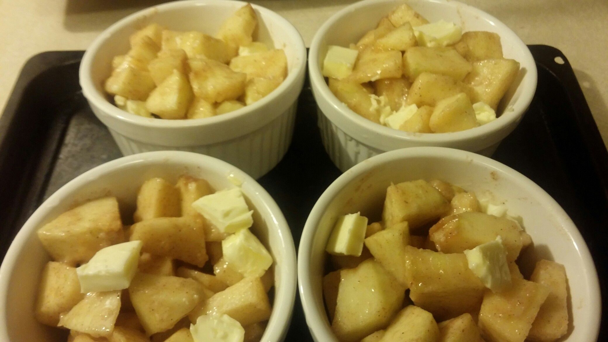 Diced Apple with sugar, butter and cinnamon Diced apples