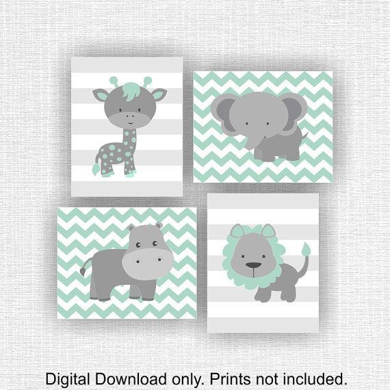 Instant download mint and gray jungle animals nursery prints lion hippo giraffe elephant - Babyzimmer mint ...