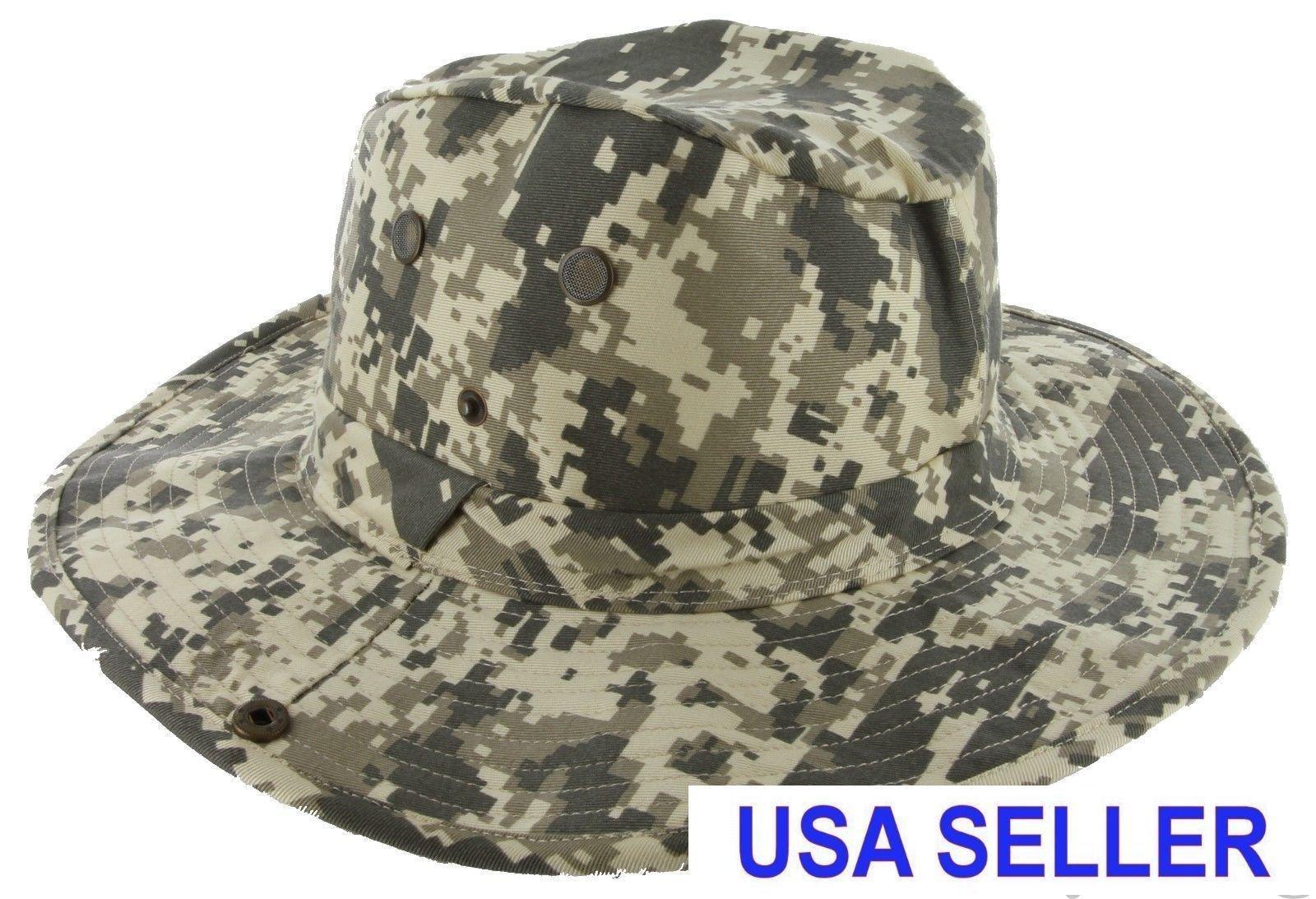 Camo Boonie Fishing Hiking Boating Army Military Camo Bucket Outdoor Hat Sun Cap Mesh