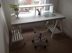 shelf on top of ikea table use a high shelf to ikea tableoffice ideasthe deskcraft roomsmodern track