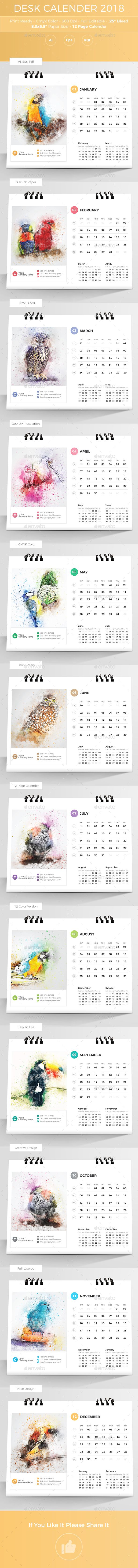 Desk Calender 2018 Template Vector Eps Ai Illustrator Calendar