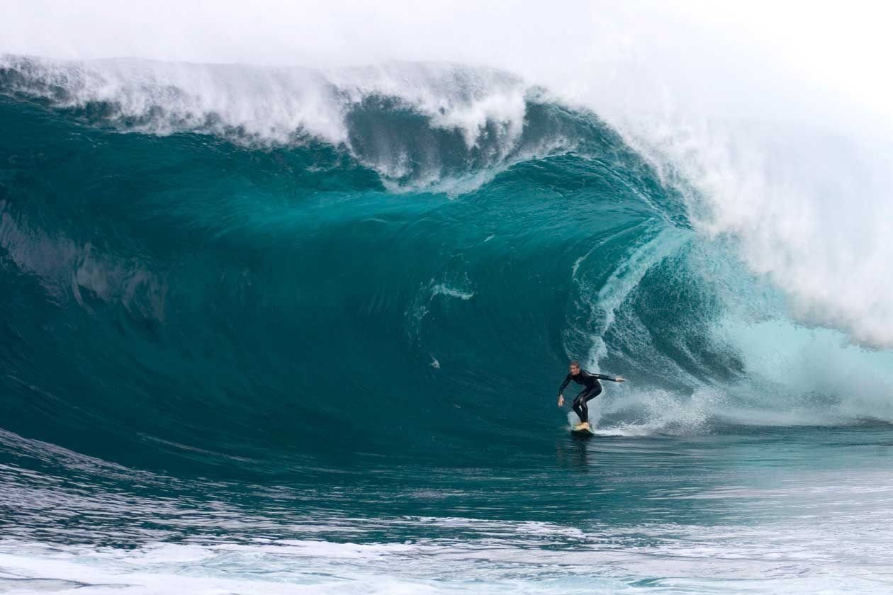Laurie Towner surfing Shipstern's Bluff, Tasmania