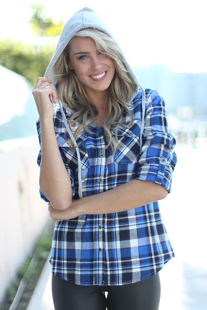 Blue Plaid Hooded Top