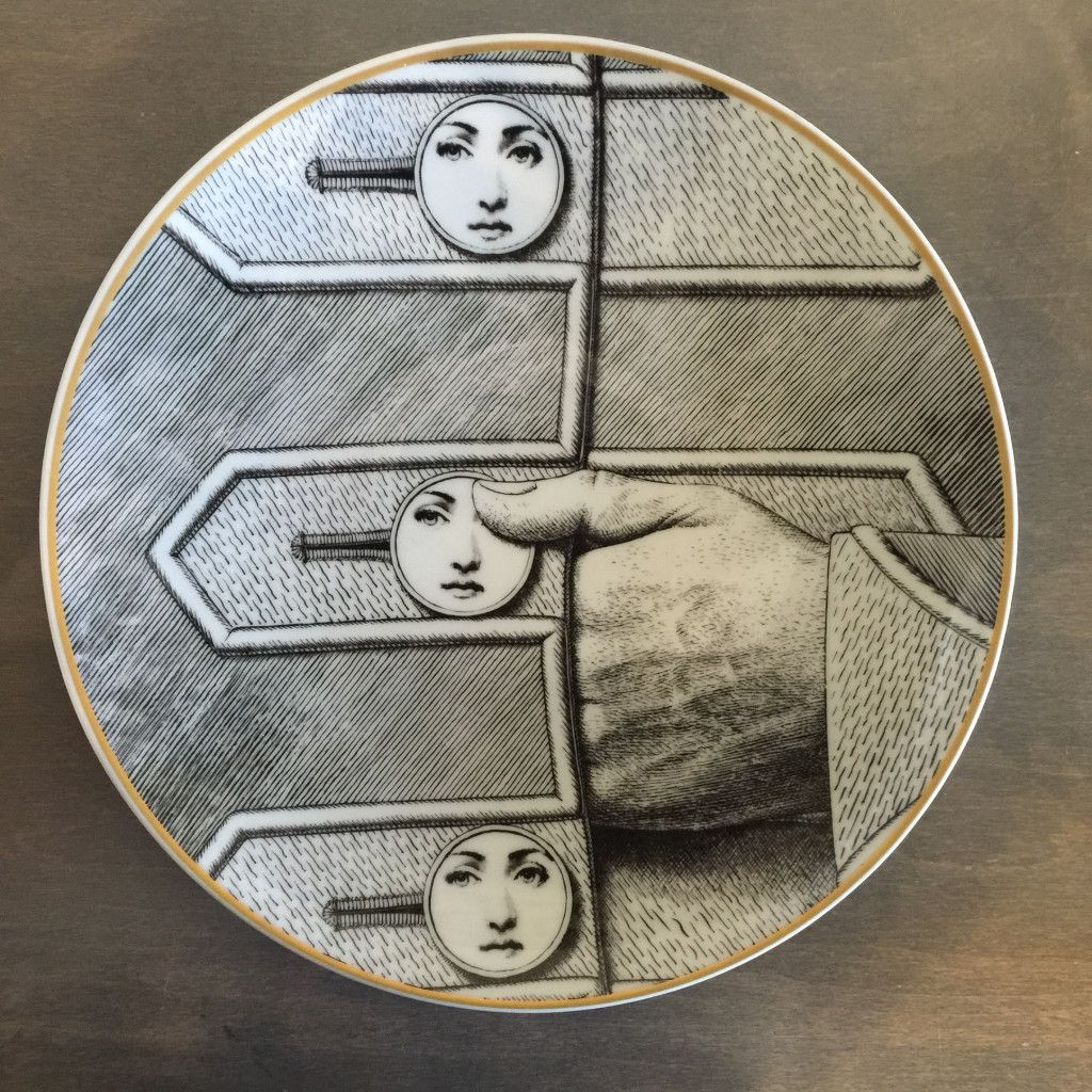 Vintage gold rimmed Fornasetti Plate in impeccable condition