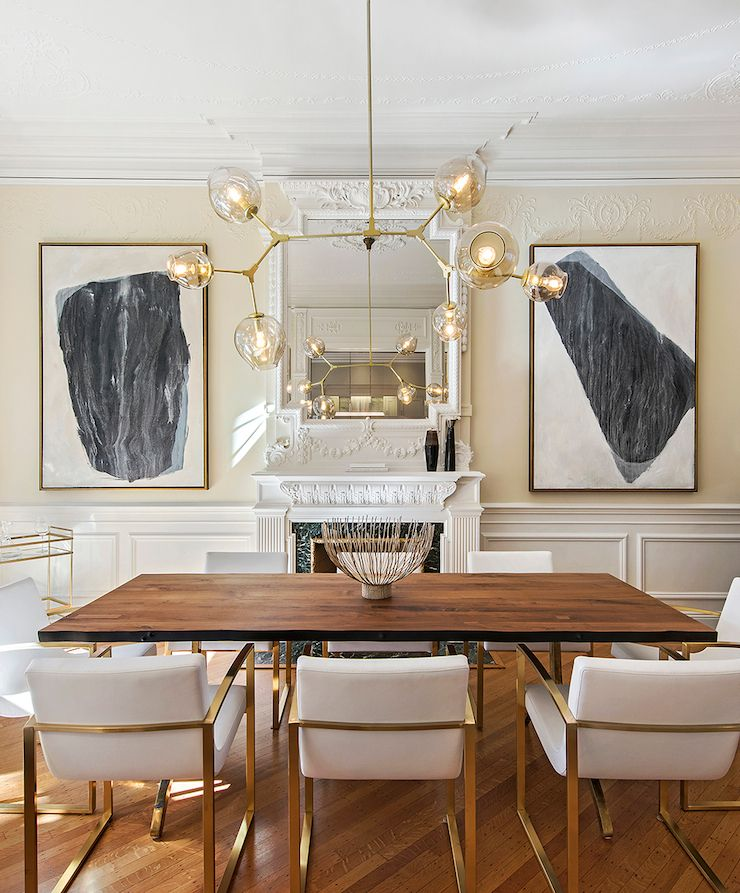 gold-and-white-mouldings-wood-floor-Brooklyn-Townhouse | interior ...