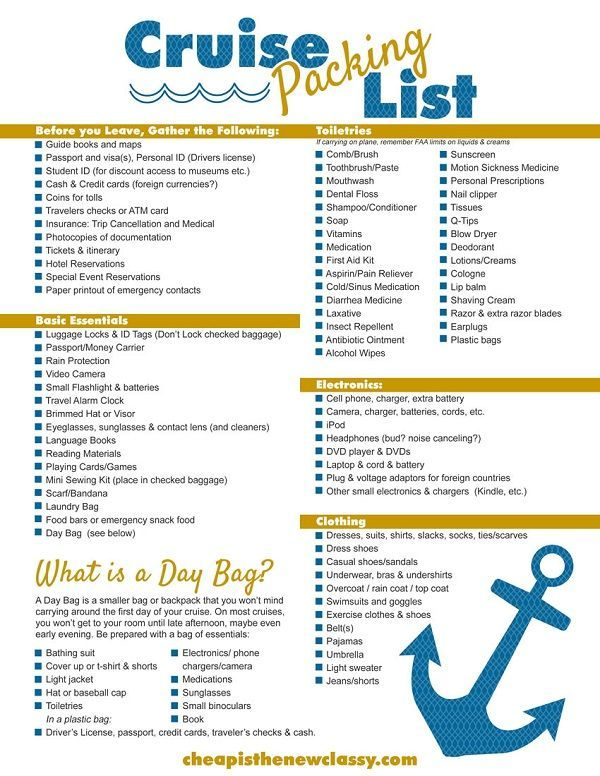 DIY Cruise Itinerary + FREE Cruise Packing List Printable #sponsored - packing checklist template