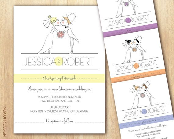 Cartoon Wedding Invitation Bride And Groom Di Noaofirdesign