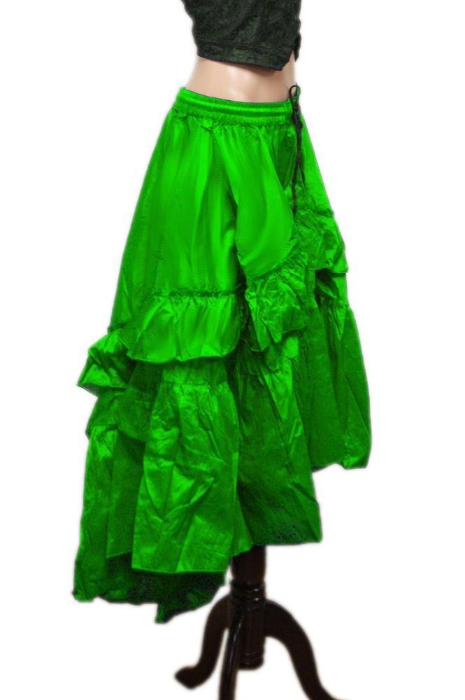 TGLS ~ Asymmetrical Lime Gypsy Tribal Silk Cotton Ruffle Skirt  Sale! #TheGasLightShoppe #AsymmetricalRuffleSkirtONLYVestNotIncluded