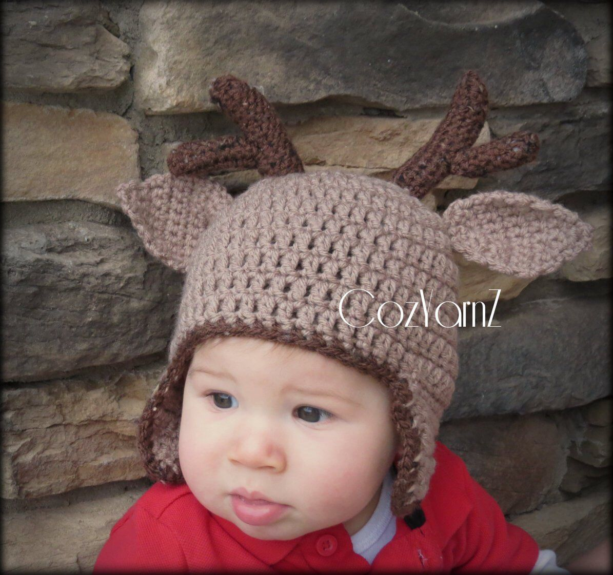 Deer antler hat baby hat crochet buck deer hat brown