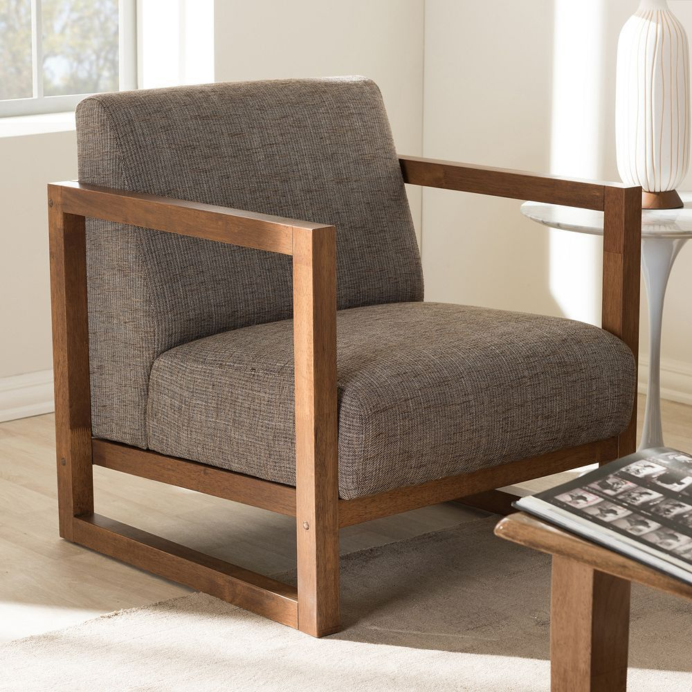 Baxton Studio Valencia Accent Chair, Grey | Contemporary