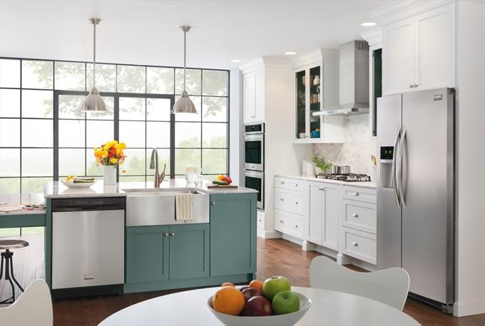 """30"""" Wall Oven, 26 cu.ft. Side By Side Refrigerator, And Dishwasher In Stainless Steel"""