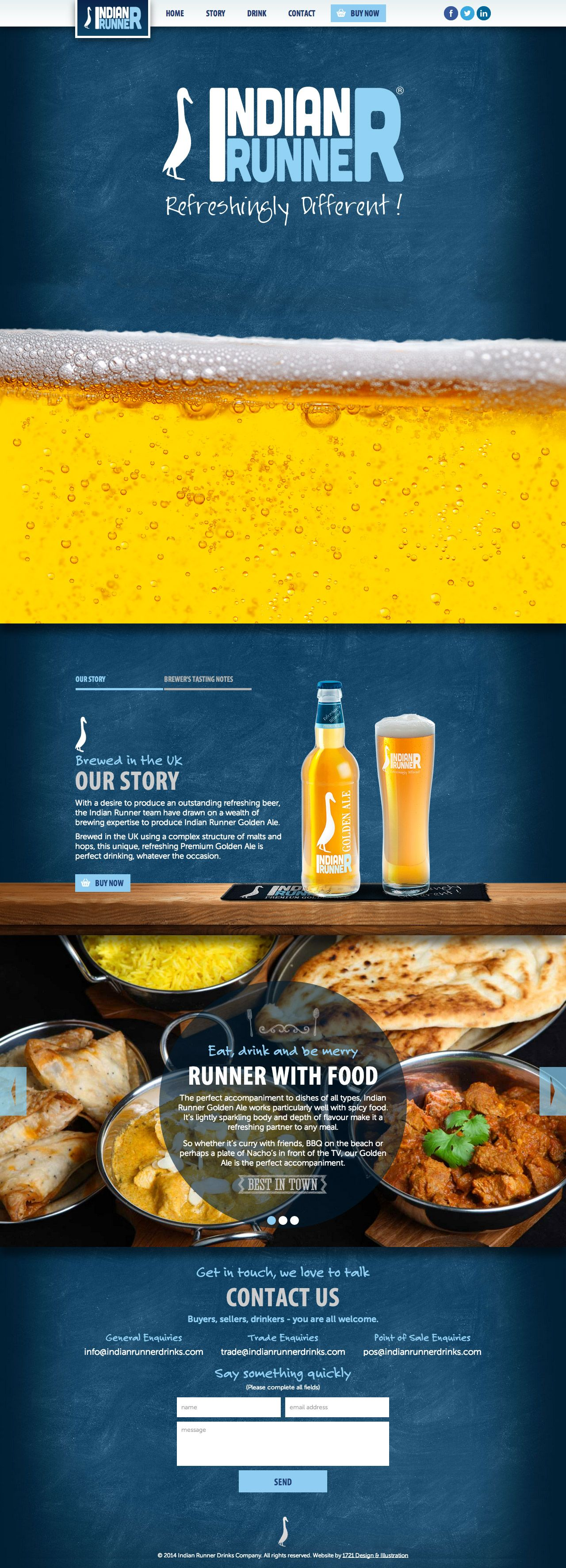 One pager for 'Indian Runner' Golden Ale featuring a blue chalkboard textured background that works well against the color of the product ie. beer:)