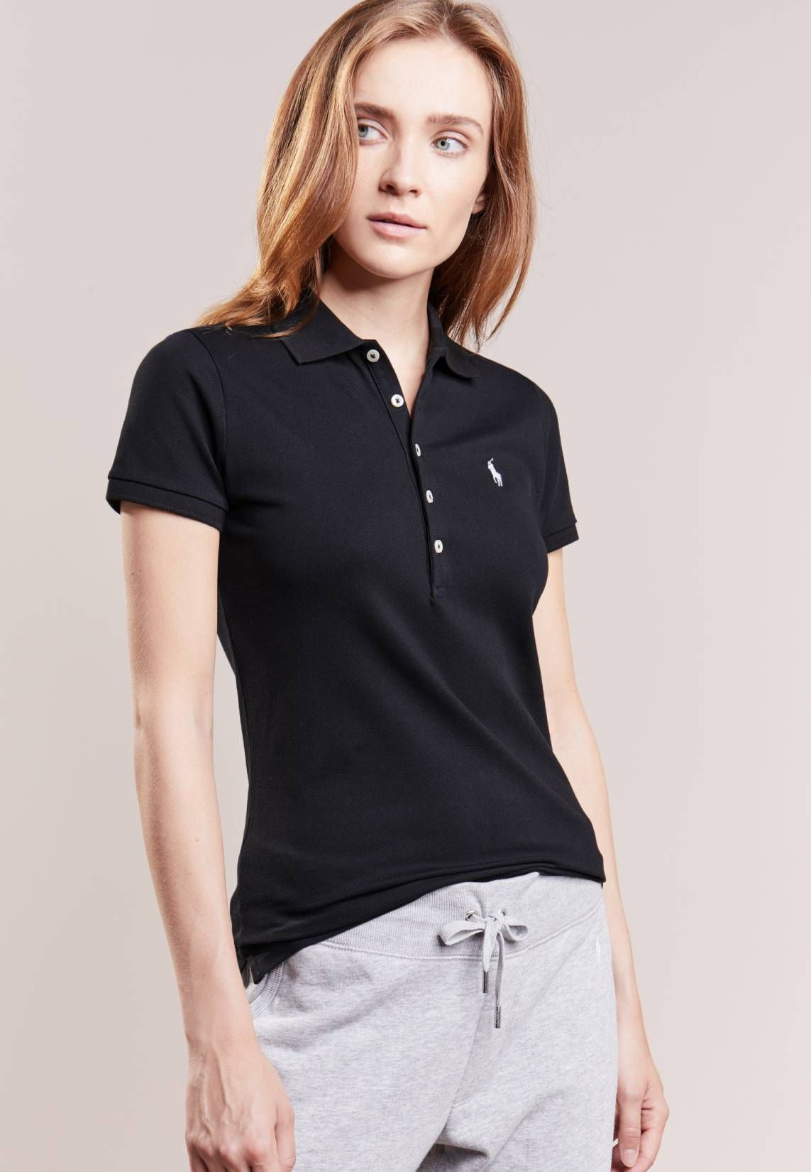 1abcab65 Polo Ralph Lauren. JULIE SKINNY FIT - Polo shirt - black/white. Fit:small.  Outer fabric material:97% cotton, 3% spandex. Our model's height:Our model  is ...