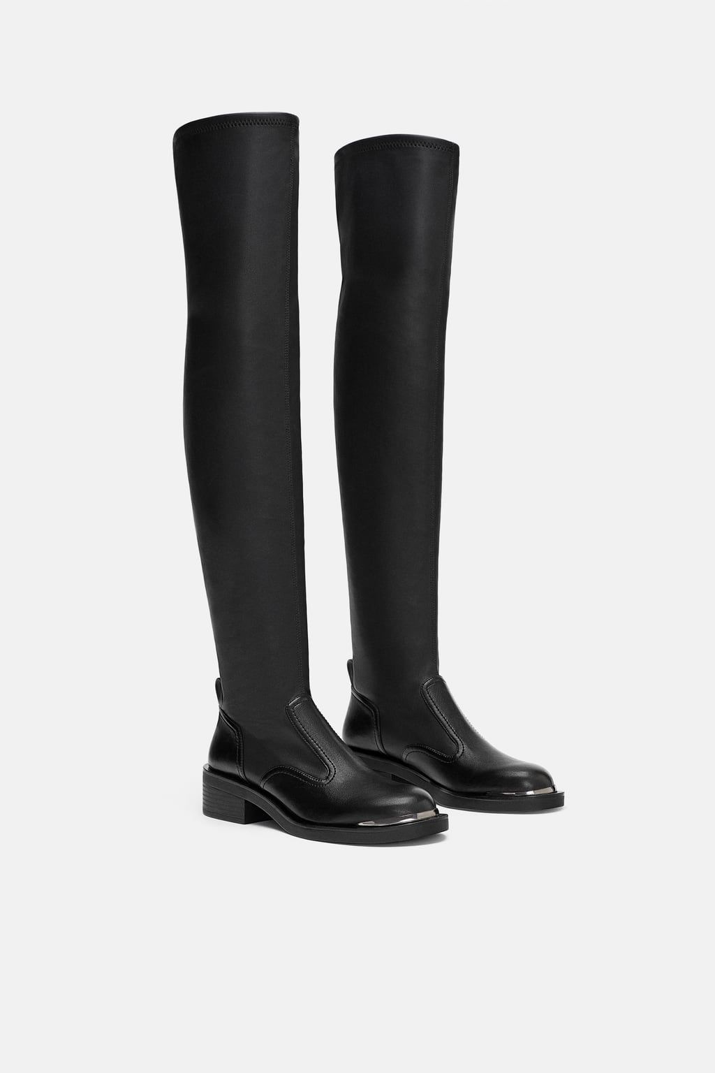 d1e7fd971482 FLAT STRETCH BOOTS DETAILS89.90 USDBLACK - 5050 301Black flat boots. High  stretch leg detail. Pull tab at heel. Round toe. Sole height  1.6 inches  (4cm)