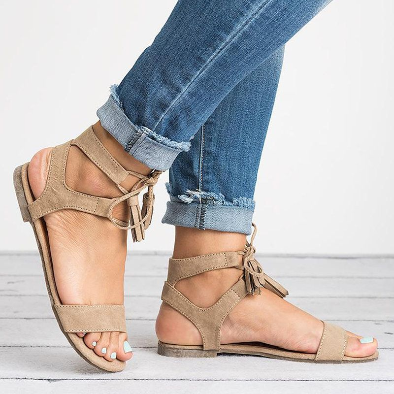 3933182be Women Pu Sandals Casual Lace Up Tassel Shoes - JustFashionNow.com ...