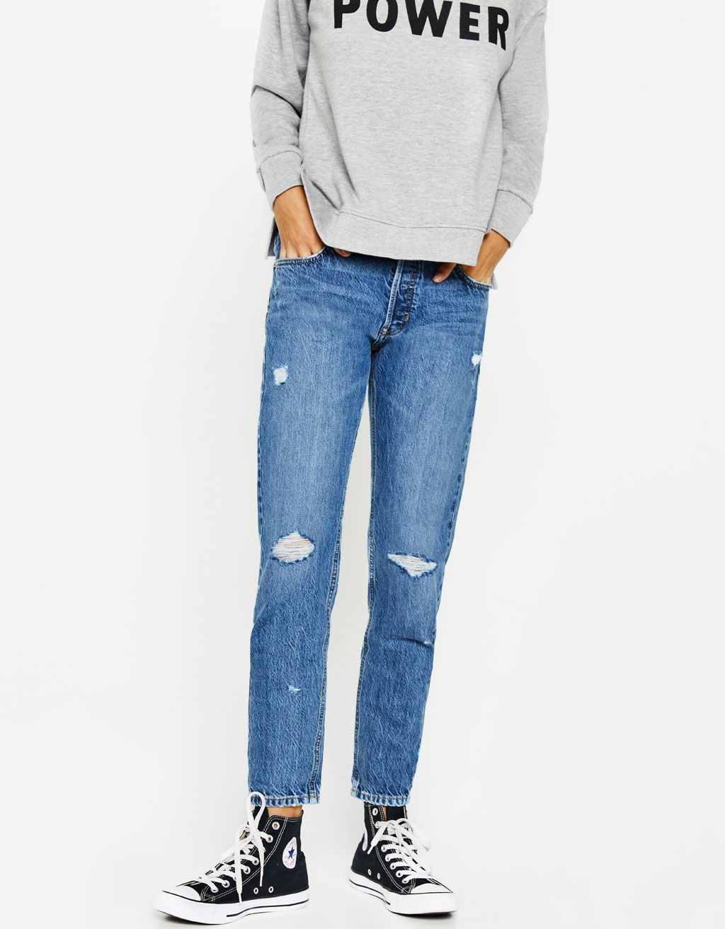 c233b5d573 Ripped slim fit boyfriend jeans. Discover this and many more items in  Bershka with new products every week