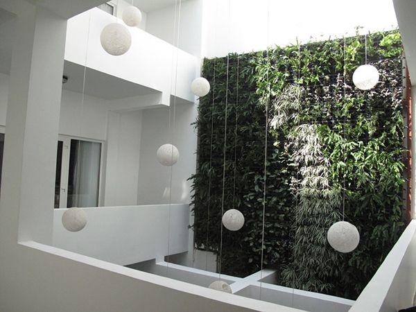 modernes design grüne wand als architekturelement