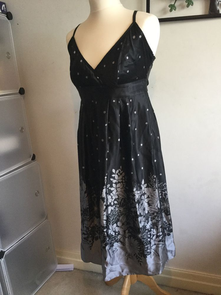 2d94c13b442 TED BAKER 100% Silk Black Grey Silver Dress Size 3 UK 12.  fashion  clothing   shoes  accessories  womensclothing  dresses (ebay link)