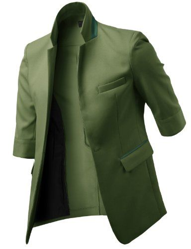 H2H Men Casual Blazer Jackets with 3/4 Sleeve Single Breasted Button KHAKI US L/Asia XL (JGSK09)