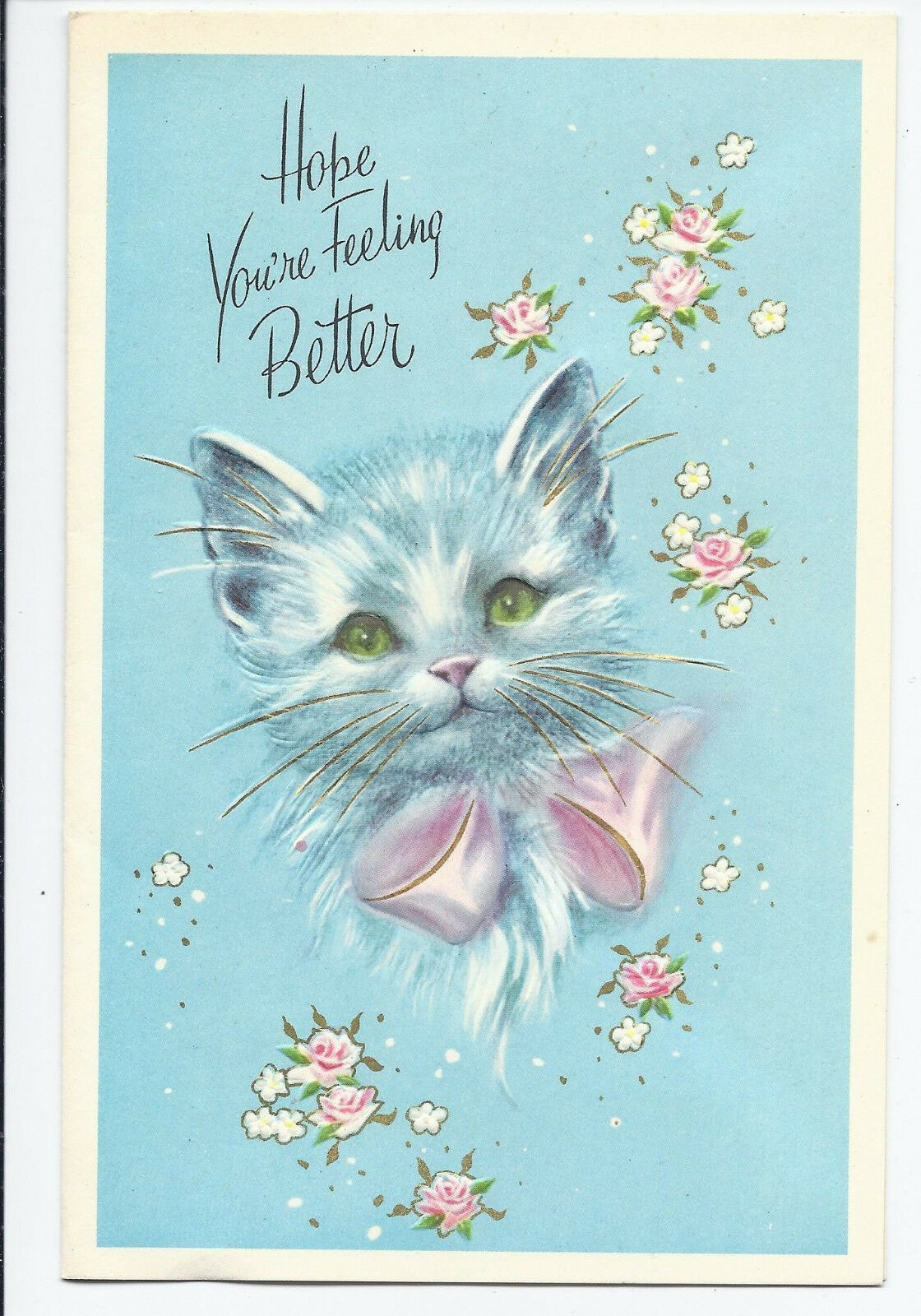 #124 Get Well Pretty Gray Kitten Pink Bow Sincere Regards Vintage Greeting Card #pictureplacemeant