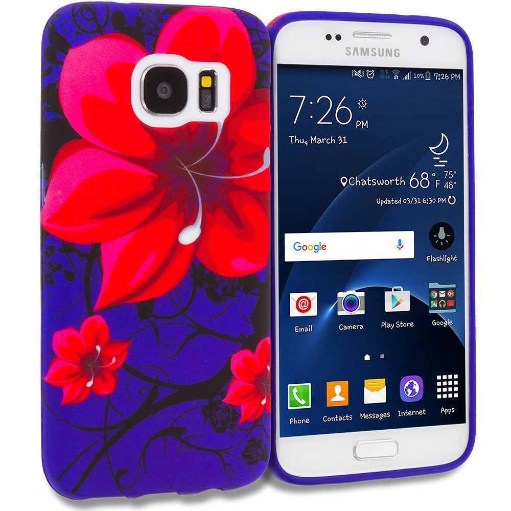 Red Rose Purple TPU Design Rubber Skin Case Cover for Samsung Galaxy S7 Edge