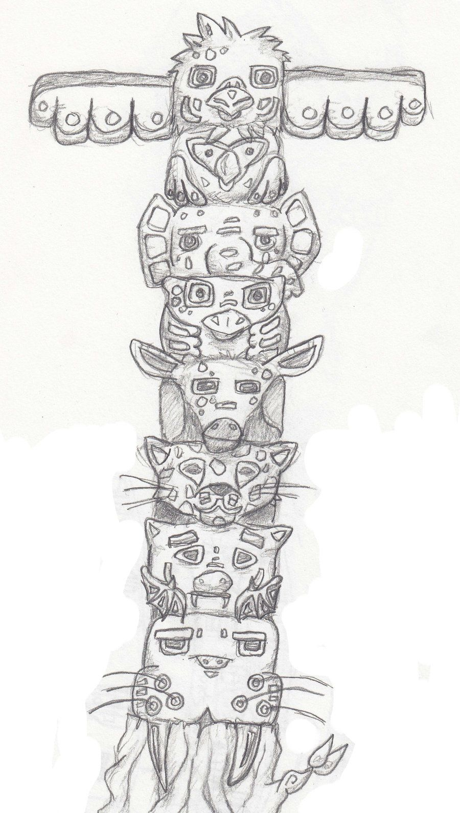 Totem Poles From Giant Cedar Tree Coloring Page