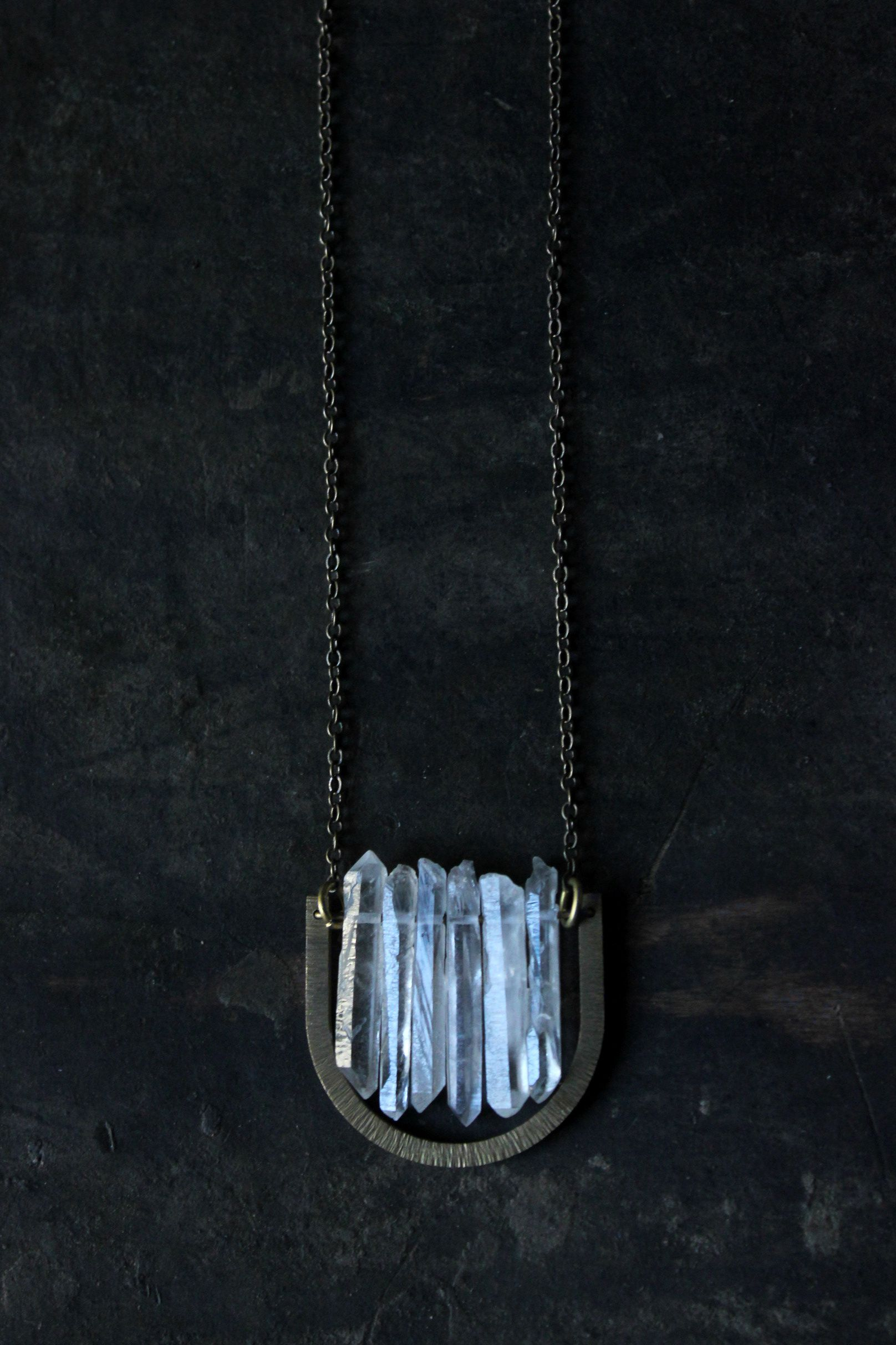 quartz crystal etsy by exploresleeprepeat s necklace clear pin and on gold