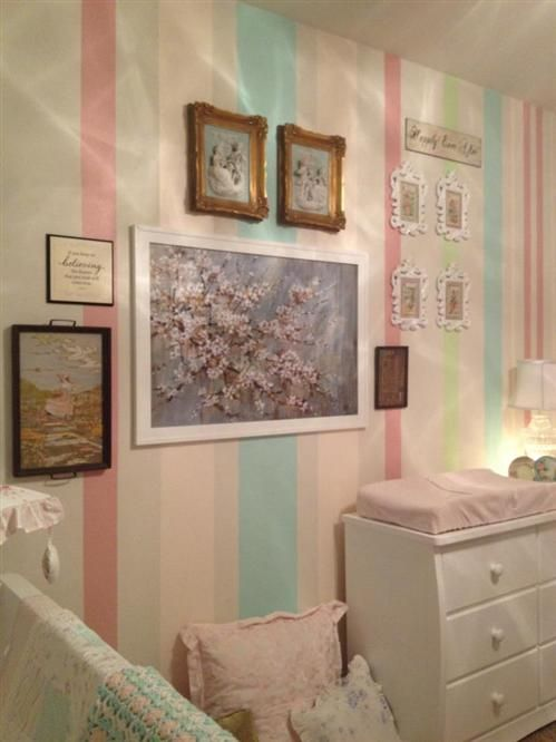 Pastel Striped Walls For Baby S Nursery Striped Walls Nursery