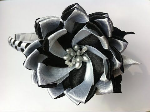 Украшение на ободок Канзаши / Черно - белый цветочек - YouTube