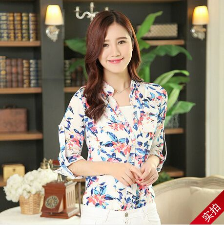 S~XXL Women's Tops 2014 Printed Stand Collar Long-Sleeved Chiffon Blouse Plus Size Women Blouses Four Colors Women Shirt $15.86
