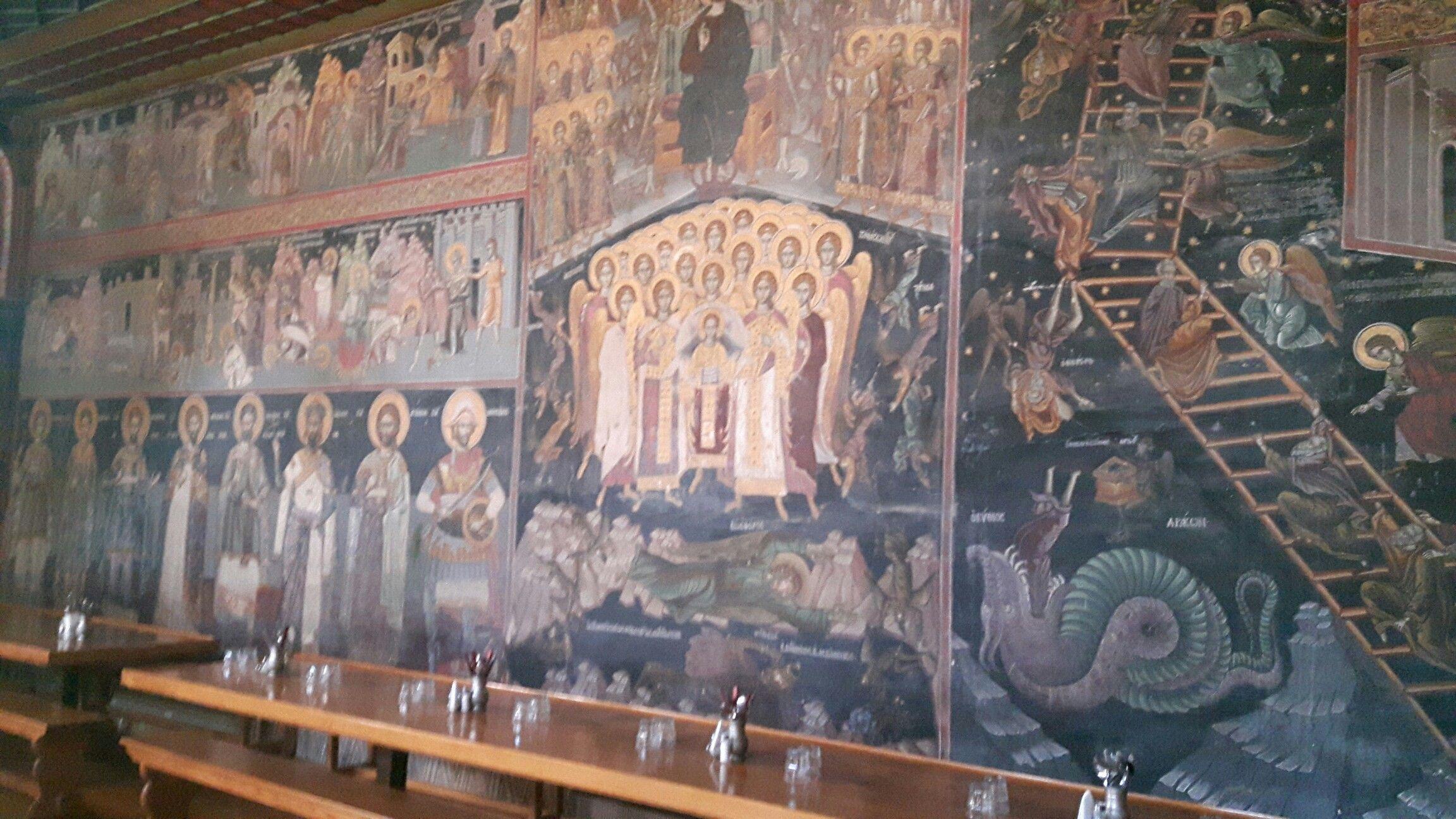 Moni Dionissiou. Pitture murali della Trapeza. 1603 ...