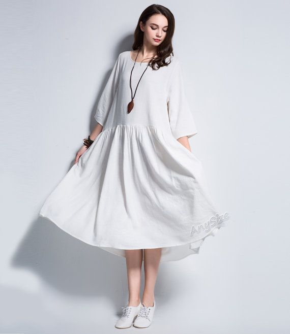 67e19fa1e7 Anysize three quarter sleeves linen dress plus size dress plus size tops plus  size clothing summer spring autumn dress clothing
