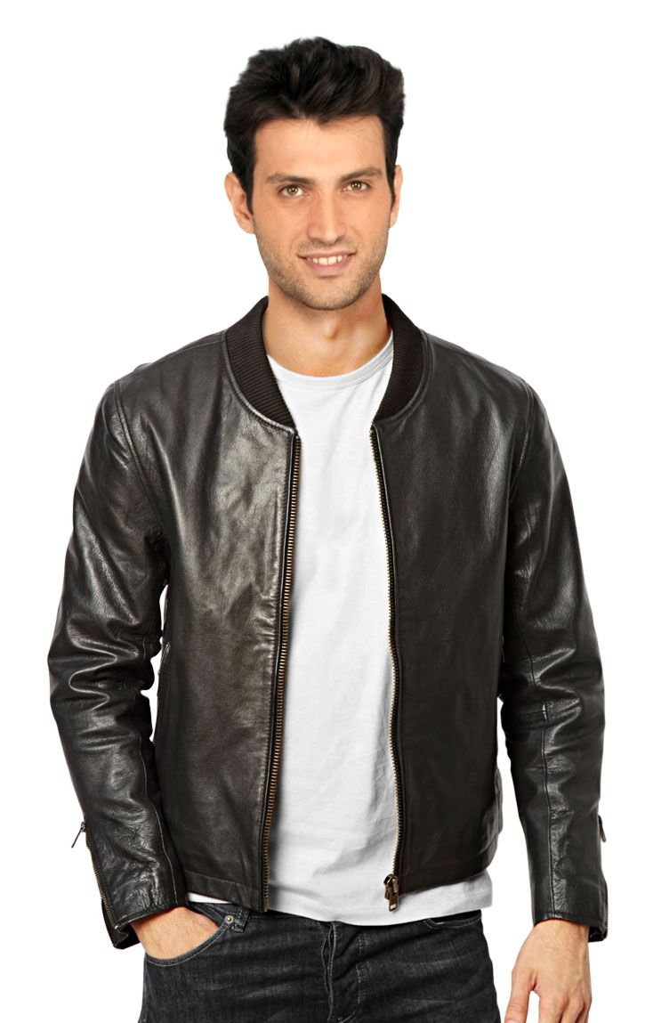 Bomber Leather Jacket For Men With Band Collar | Leather Bomber ...