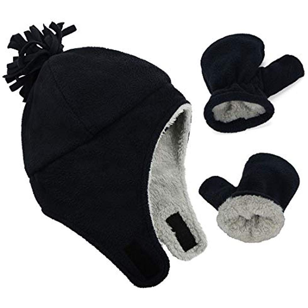 Infants Mittens and Hat Set Winter Outdoor Accessories Boys Girls