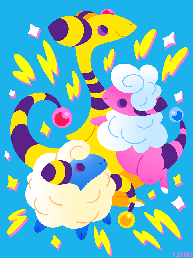 fa4242848 Pokemon t-shirt featuring the adorable Mareep, Flaafy and Ampharos, the  electric sheep evolution line that debuted in Pokemon Gold & Silver.