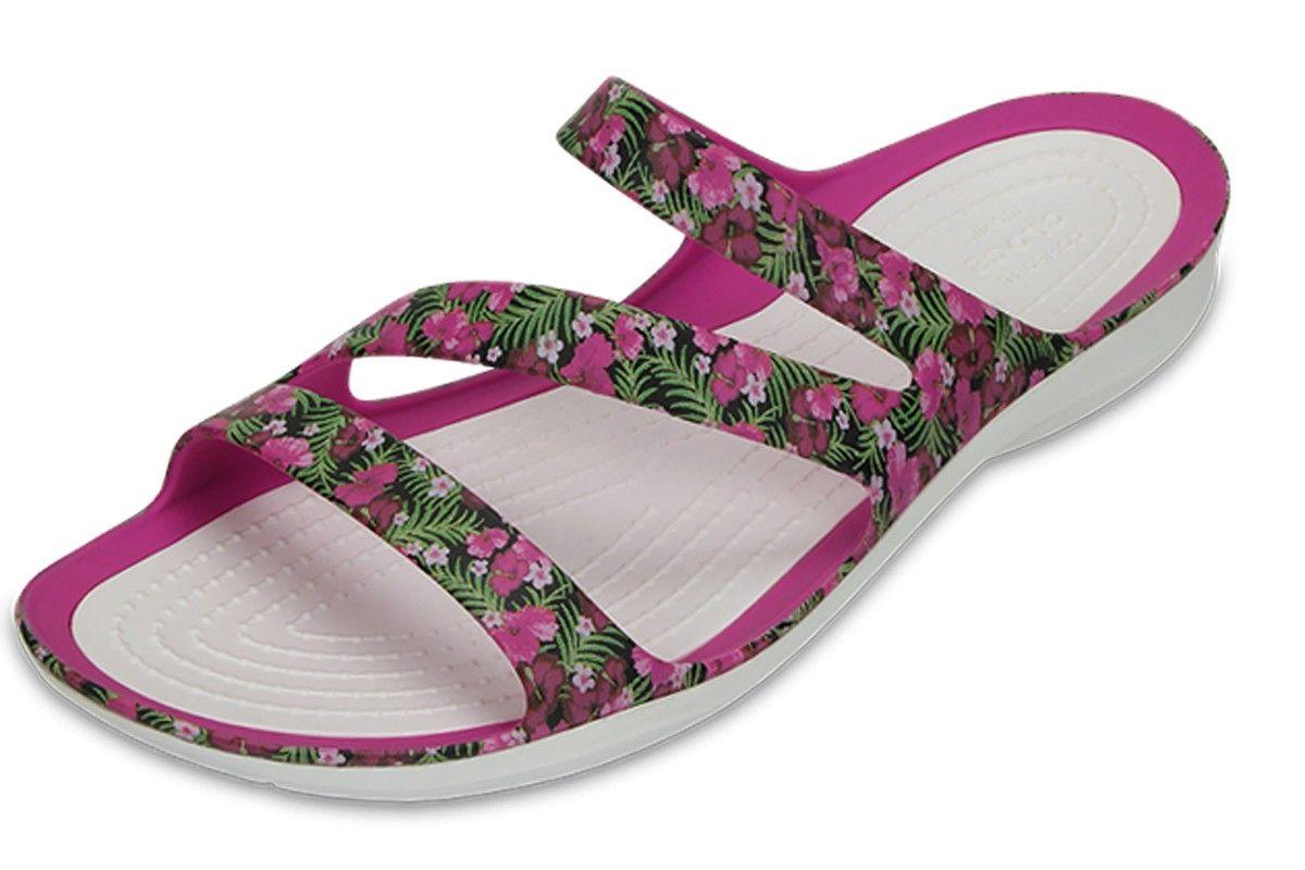 Crocs Womens Swiftwater Graphic W Flat Sandal
