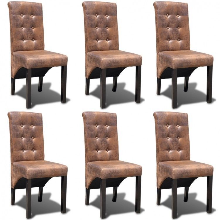 Pleasing Details About Artificial Leather Dining Chairs Set Brown Gamerscity Chair Design For Home Gamerscityorg