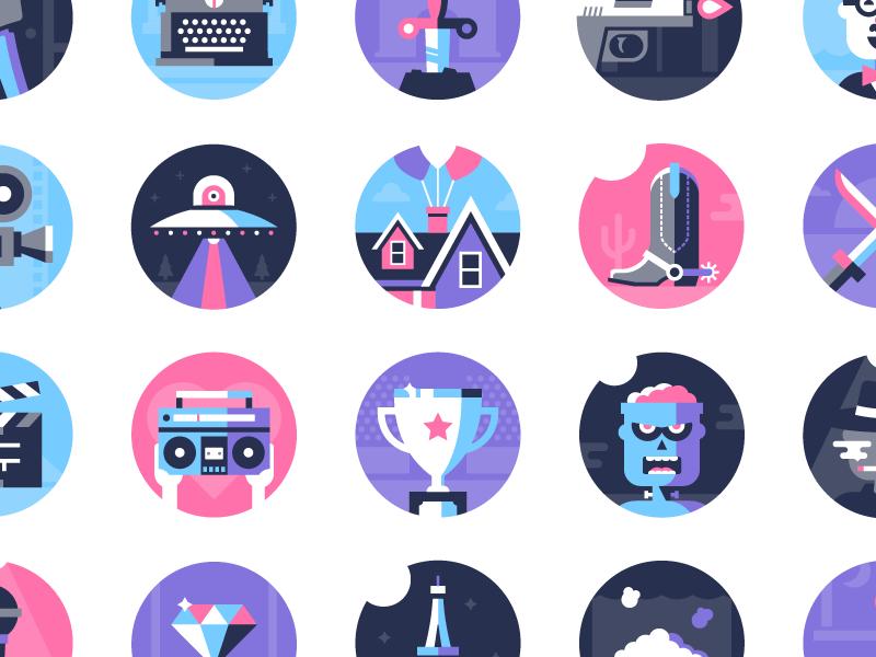 Movie Genre Icons Design Inspiration Icon Design Graphic Design