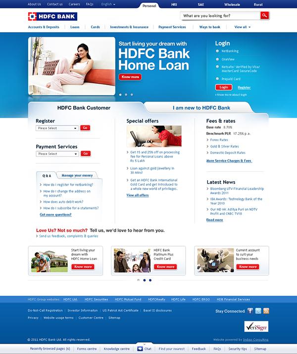 Hdfc Bank Website Redesign On Behance Banks Website Website Redesign Redesign