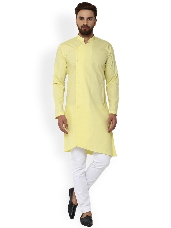 8b42045260a See Designs Men Yellow Solid Straight Kurta - | 1124 | Ethnic Wear ...