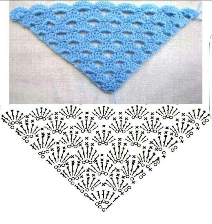 boogjes sjaal | Craft Ideas | Pinterest | Croché, Ganchillo y Chal
