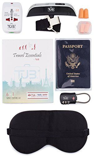6 in 1 Travel Essentials Kit  TSA Lock Luggage Scale Travel Adapter  More ** Click image for more details.